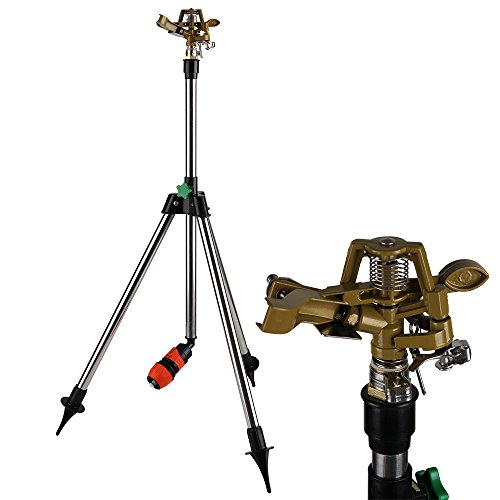 Deuba Sprinkler Rasensprenger Kreisregner Teleskopstativ Höhe bis 120cm Bewässerungsweite bis zu 27m 360° Sprühaufsatz