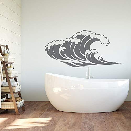 YuanMinglu Adhesivos de Pared de baño de Onda calcomanías de Pared Marinas Naturales Dormitorio Tema de Playa decoración de Dormitorio de Onda Mural 57X28 cm