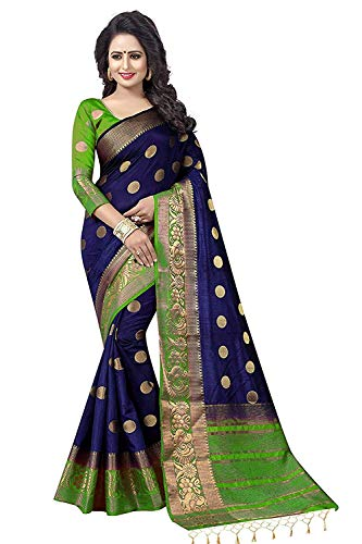 Nirja Creation Multi Color Traditional Fancy Cotton Party wear Silk Saree (Green)