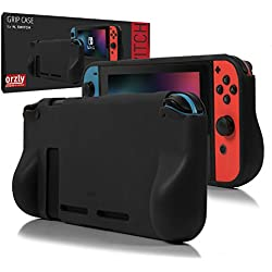 Orzly Comfort Grip Case für Nintendo Switch - Schutzhülle für den Einsatz auf der Nintendo Switch Console im Handheld GamePad-Modus mit integrierten Komfort gepolsterten Handgriffen - SOLID BLACK