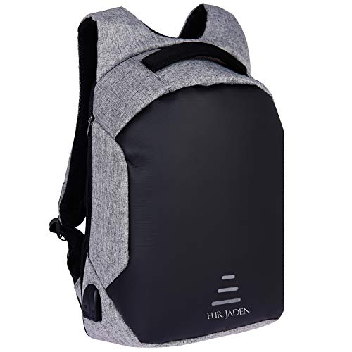 FUR JADEN Anti Theft Waterproof with USB Charging Point 20 Ltrs Grey Casual Backpack (BM25_Grey)