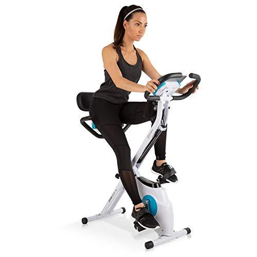 Klarfit Azura Plus 3-in-1 Heimtrainer • Fitnessbike • Fitness-Fahrrad • Cardio-Training • Riemenantrieb • Pulsmesser • Flexible Zugbänder • 8-stufiger Magnetwiderstand • Tablet-Halterung • weiß