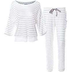 Matt Viggo Set Pijama para Mujeres Encaje a Rayas Ropa para la Casa Mangas Cortas 3/4 de Largo Ligero, Blanco, S