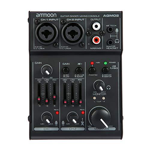 Tooarts ammoon AGM02 Mini 2-Channel Sound Card Mixing Console Digital Audio Mixer 2-Band EQ Built-in 48V Phantom Power 5V USB Powered for Home Studio Recording DJ Network Live Broadcast Karaoke
