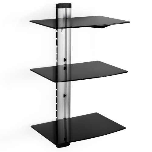 TecTake Supporto con fissaggio a parete per lettori DVD e ricevitori (3 ripiani), colore: Nero
