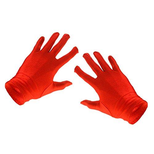 Donne Guanti Corti Sole Protezione Costume Opera Partito Vestito - Rosso, Taglia unica
