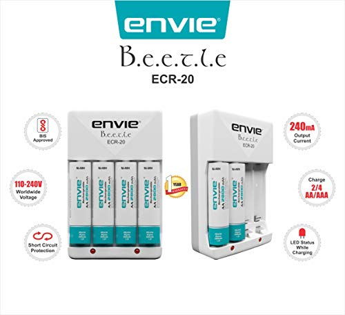 Envie ECR20 2800mAh AA Ni-Mh Rechargeable Batteries [4 Pieces] + Battery Charger Set