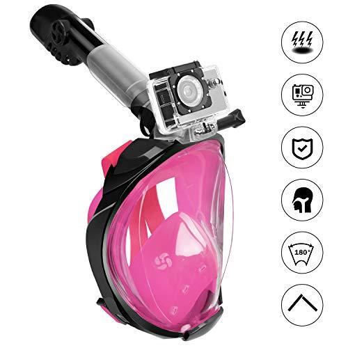 Fenvella 2019 Maschera Subacquea, Maschera Snorkeling Integrale 180° Vista Panoramica, Anti-Appannamento Anti-Perdita Easybreath Sub Maschera per Uomo Donna (Rosa, S/M)