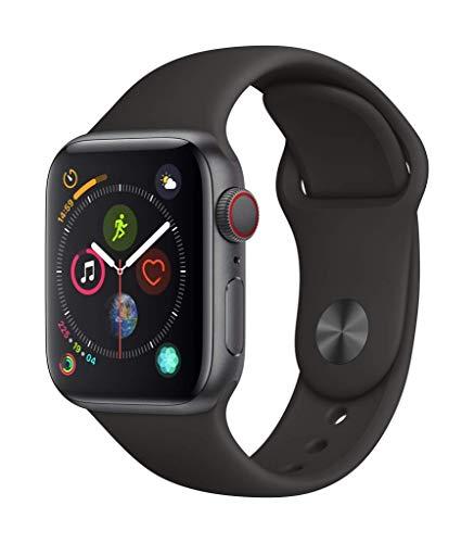 AppleWatch Series4 (GPS+Cellular) con caja de 40mm de aluminio en gris espacial y correa deportiva negra