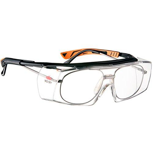 NoCry - Gafas de seguridad con lente óptica anti rasguños - Certificaciones ANSI Z87 y OSHA - varillas ajustables y protección (contra rayos de sol) UV 400 - marco negro y naranja