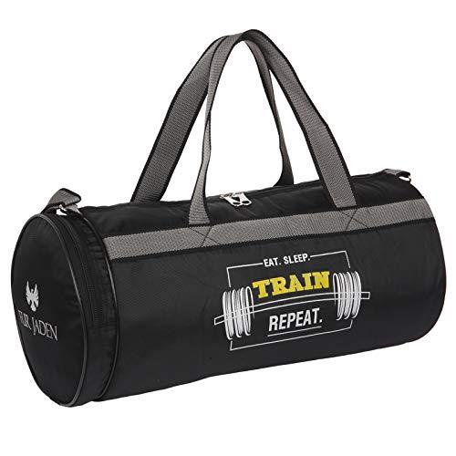 Fur Jaden Black 23L Duffle Gym Bag for Men with Separated Shoe Pocket and Attached Shoulder Strap...