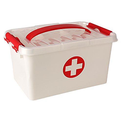 HOLONG Plastic First Aid Kit Emergency Medicine Storage Box with Detachable Tray and Lid(White, Standard)