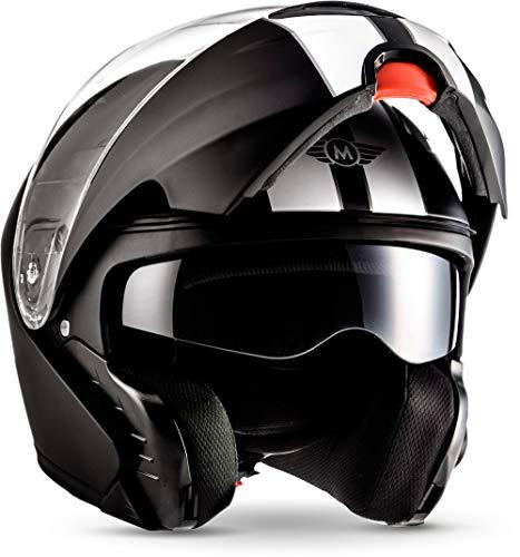 "MOTO Helmets® F19 \""Racing Black\"" · Motorrad-Helm · Klapp-Helm Modular-Helm Flip-up Integral-Helm Motorrad-Helm Roller-Helm Full-Face Cruiser MTB · ECE Sonnenvisier Schnellverschluss Tasche S (55-56cm)"