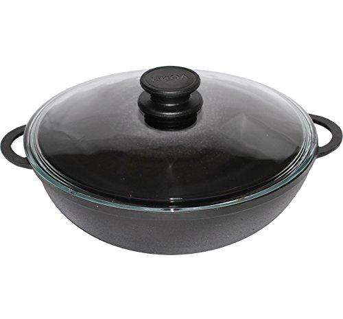 Gusseisen Wok Pfanne für gesundes Kochen 26 cm mit Deckel Induktion biol ...
