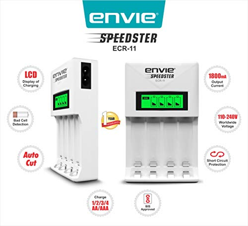 ENVIE Charger for AA & AAA Rechargeable Batteries (ECR 11 Fast Charger)