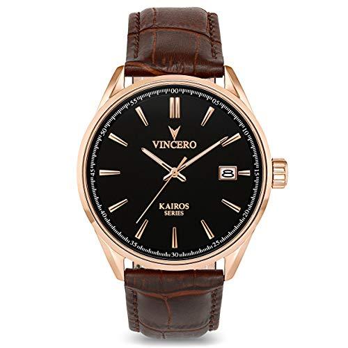 Vincero Herren Kairos Quarz Uhr Mit Lederband - Weiß/Roségold