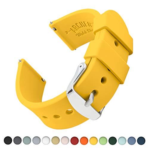 Archer Watch Straps | Ricambio di Cinturino di Silicone per Uomo e Donna, Caucciù Sgancio Rapido per Orologi e Smartwatch | Giallo, 16mm