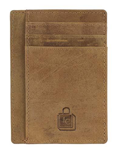 Le Craf Dark Tobacco RFID genuine Leather Credit card holder for Men/Women Front Pocket Slim Wallet
