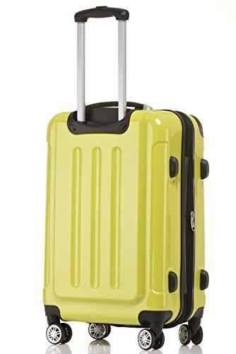 BEIBYE Hartschalen Koffer Trolley Rollkoffer Reisekoffer 4 Zwillingsrollen Polycabonat (Grün, Kofferset) - 3