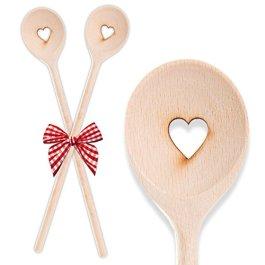 '2dolce cucchiaio in legno Cuore (lunghezza 30cm), il regalo perfetto per hobby cuochi o a