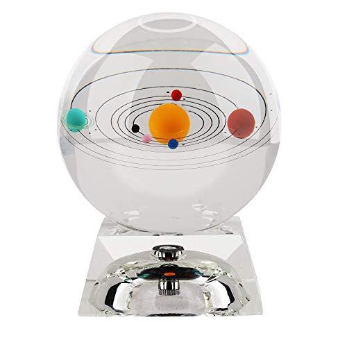 Sfera di cristallo del sistema solare da 80 mm (3 pollici) con base a LED in cristallo Modello...