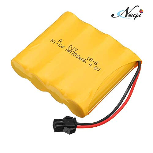 "Negi Rechargeable Ni-Cd 4.8V 700Mah ""AA"" Battery Pack Sm 2P Plug for Remote Control Toys, Rechargeable Battery for Rock Crawler Toy (4.8V 700Mah Rechargeable Battery)"