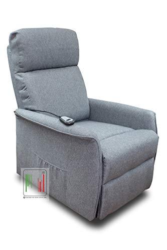 Stil Sedie Poltrona Relax reclinabile elettrica in Tessuto alzapersona Modello Nancy (Grigio)