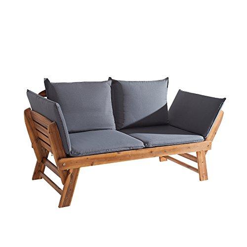 Invicta Interior Massive Sitzbank MODULAR Akazie geölt Gartenbank mit Kissen in grau und Polsterung klappbar Bank Garten Terrasse Balkon Gartenliege