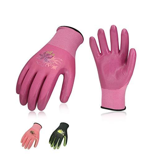 Vgo, 3 paia, guanti da lavoro e giardinaggio in nitrile, guanti da giardino, edile, multifunzione...