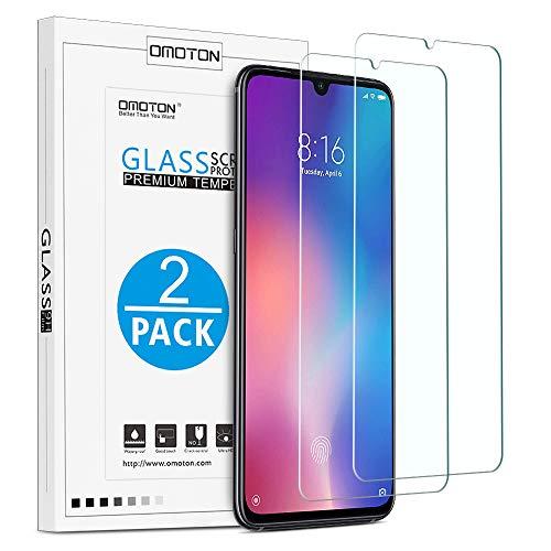 OMOTON [2 Pezzi Pellicola Vetro per Xiaomi Mi 9 - Pellicola Protettiva in Vetro Temperato - Durezza 9H - Anti-Graffi - Senza Bolle - 99% di Trasparenza e Sensibilità