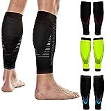 NV Compression Race and Recover Calentadores de Pantorrilla de compresión Negros - Calf Sleeves - Black - For Sports Recovery, Work, Flight - Running, Cycling (Blk/Blue, S-M)