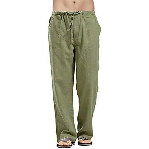 丨Pantaloni da Tasca di Grandi Dimensioni in Lino da uomo丨 xinxinyu Elastic con Comodo Cordoncino...