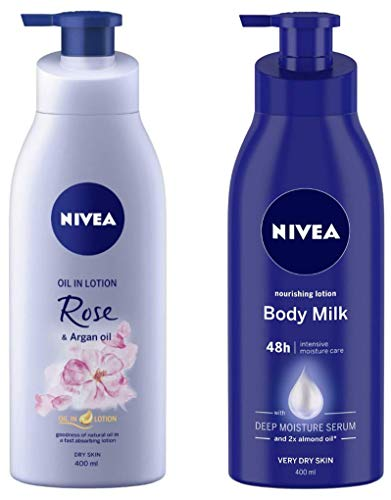 NIVEA Oil in Lotion, Rose and Argan Oil, 400ml and Nivea Nourishing Lotion Body Milk with Deep Moisture Serum and 2x Almond Oil for Very Dry Skin, 400m