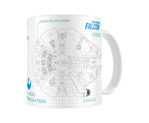SD Toys SDTSDT89003 - Taza de cerámica, diseño Star Wars Episodio 7, Halcón Blueprint, color blanco y azul