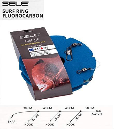 Sele Terminale da Surf Casting Pronto all'Uso con Tre ami 1.60m con Tre ami Numero 6