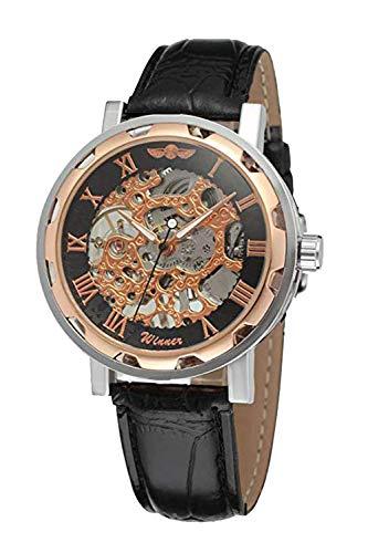 GuTe-Steampunk, orologio da polso automatico con scheletro meccanico, unisex, colore: oro rosa/nero