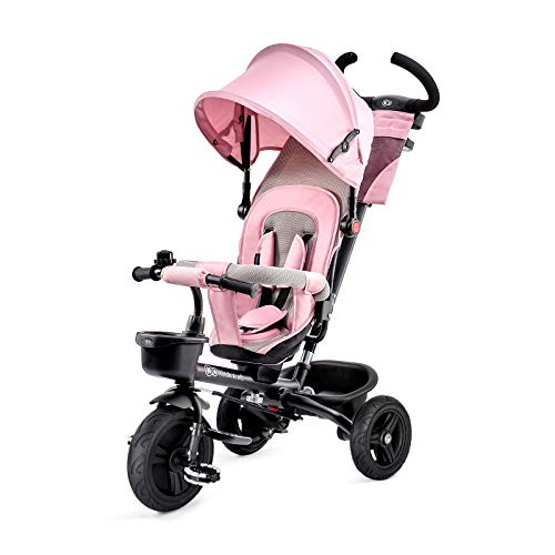 Kinderkraft Triciclo AVEO Bicicletta Passeggino Pieghevole per Bambini con Maniglione Spinta Accessori Per bambino dalla 9 mesi fino 5 anni Rosa