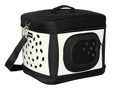 SixBros. Transportbox Transporttasche Hundetasche Hund & Katze Faltbar Schwarz/Beige - 12041/1491
