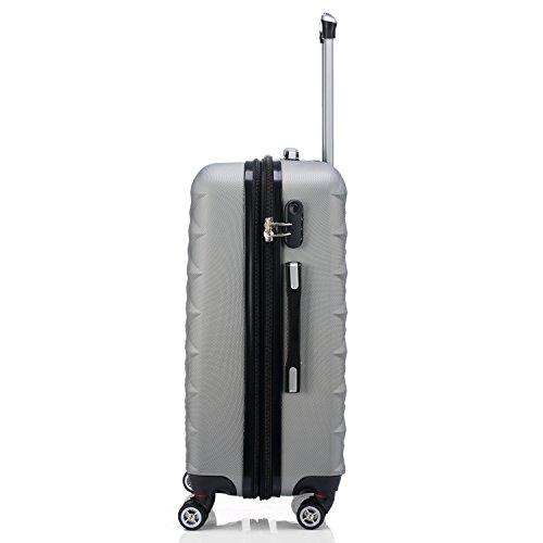 BEIBYE Kofferset 4 Zwillingsrollen Hartschale Trolley Koffer Reisekoffer Reisekofferset Gepäckset in 12 Farben (Silber) -