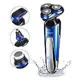 Rasoir Electrique Homme Rechargeable avec 3D Têtes Rotative, 4 En 1 Rasoir Multifonctionnel pour Moustache/Barbe/Nez/Nettoyage de Visage