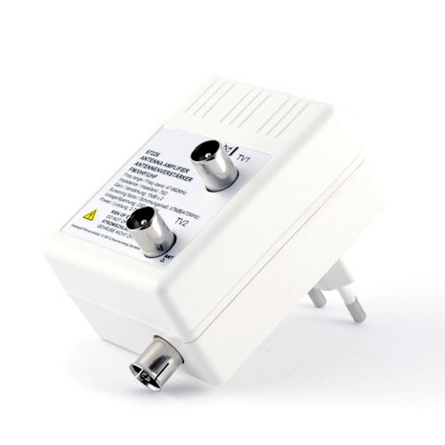 Antennen- Verstärker für DVB-T + Kabel TV + Radio Verteilverstärker | 2 Geräte-Verstärker | optimale Signalverstärkung von 2× 15 dB | Full HD 1080p | DVB-T DVB-T2 | DVB-C | Radio UHF VHF UKW