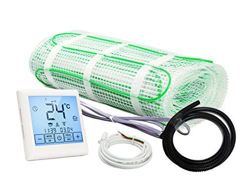 Plancher chauffant électrique rayonnant 200 W/m² - tout révetement - Kit Complet avec Thermostat digital programmable - affichage LCD écran tactile (3.0 m²)