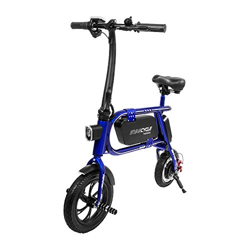 """Swagtron Envy-Blue 12T SWAGCYCLE 200W Envy Steel Frame Folding Electric Bicycle/E-Bike 12"""" Frame (Blue)"""