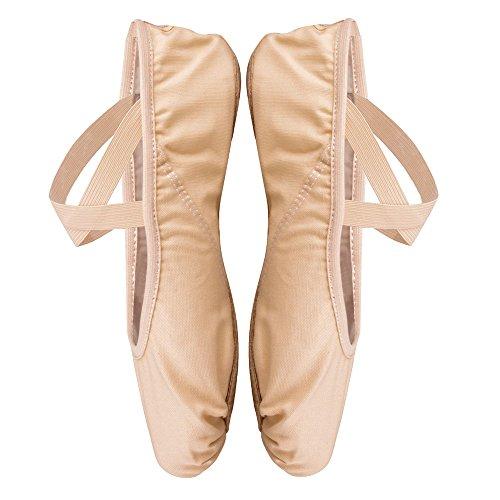 Scarpe Danza Classica, Scarpette da Danza per Bambini e Adulto, Scarpe da Ballo Tela Morbido, Cuoio Suola Diviso, Piatto Scarpette Balletto, Albicocca Rosa, 29