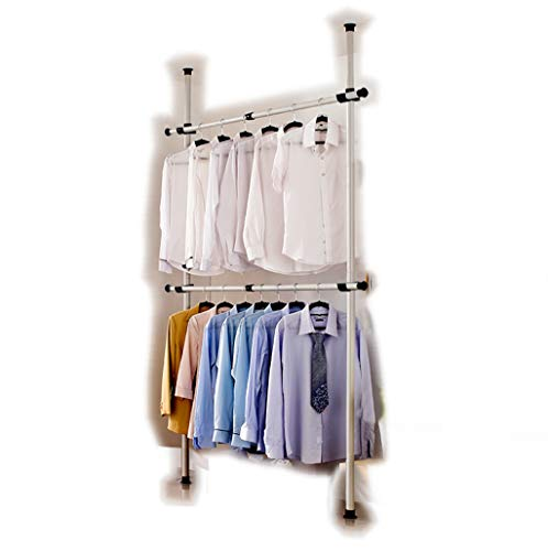 portatile Indoor Porta abiti tools-free DIY Appendiabiti armadio a 2 poli 2 Bar. Aste in Acciaio...