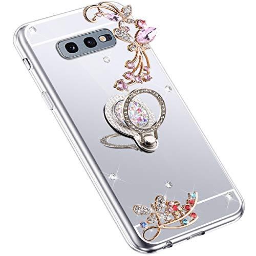 Uposao Kompatibel mit Samsung Galaxy S10e Hülle Glitzer Spiegel TPU Schutzhülle Bling Strass Diamant Silikon Hülle Glänzend Kristall Blumen Silikon Handyhülle mit Ring Ständer Halter,Silber
