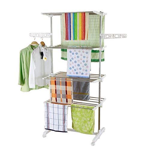 Style home Wäscheständer mobiler Wäschetrockner-Turm Klappbar Standtrockner Kleiderstange Seitenflügel auf 4 Ebenen LxTxH: 80 x 13 x 178 cm (4 Ebenen)