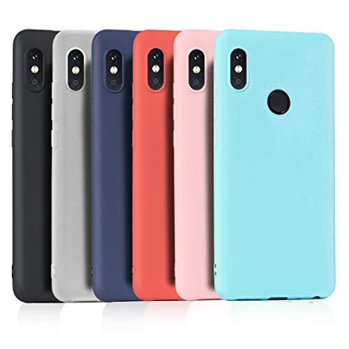 Wanxideng 6 x Funda para Xiaomi Redmi Note 5, Carcasa Suave Mate en Silicona TPU, Ultra Delgado Ligero Soft Silicone Case Cover [ Negro+ Rojo+ Azul Oscuro + Rosa + Verde Menta + Traslucido ]