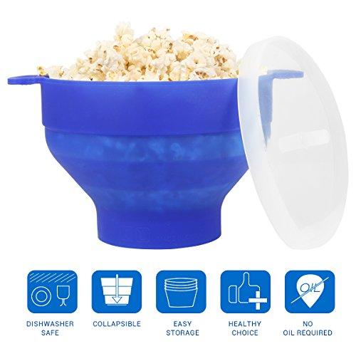 Uvistar Recipiente para cocinar palomitas en MicroondasTazón de la palomitas de maíz Material de silicona y BPA libre