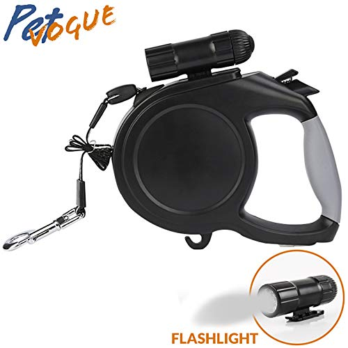 Heavy Duty Retractable Dog Leash 16.5 FT with LED Flash Light for up to 35kg Small Medium Large Dogs Outdoor Walking & Training